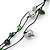 Long Green Glass and Wooden Bead Necklace on Cotton Cord - Expandable 112cm - 147cm Length - view 5