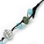 Long Blue Glass Bead and Silver Acrylic Bead Necklace on Black Suede Cord - 110cm Length - view 7