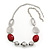 Burgundy Red Resin and Silver Acrylic Bead Statement Necklace In Silver Tone - 84cm Length (6cm extension)
