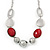 Burgundy Red Resin and Silver Acrylic Bead Statement Necklace In Silver Tone - 84cm Length (6cm extension) - view 4