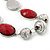 Burgundy Red Resin and Silver Acrylic Bead Statement Necklace In Silver Tone - 84cm Length (6cm extension) - view 6