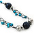 Long Turquoise Stone and Dark Blue Wooden Bead Necklace on Cotton Cord - Expandable 112cm - 147cm Length - view 4