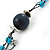 Long Turquoise Stone and Dark Blue Wooden Bead Necklace on Cotton Cord - Expandable 112cm - 147cm Length - view 5