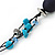 Long Turquoise Stone and Dark Blue Wooden Bead Necklace on Cotton Cord - Expandable 112cm - 147cm Length - view 6