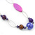 Long Purple Resin and Acrylic Nugget Necklace in Silver Tone- 112cm Length (5cm extension) - view 4