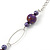 Long Purple Resin and Acrylic Nugget Necklace in Silver Tone- 112cm Length (5cm extension) - view 6