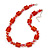 Carrot Red Glass Bead Necklace In Silver Plating - 42cm Length/ 6cm Extension