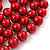 Long Red Glass Bead Necklace - 140cm Length/ 8mm - view 5