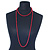 Long Red Glass Bead Necklace - 140cm Length/ 8mm - view 2