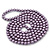 Long Purple Glass Bead Necklace - 140cm Length/ 8mm - view 6