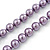 Long Purple Glass Bead Necklace - 140cm Length/ 8mm - view 5