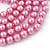 Long Pink Glass Bead Necklace - 140cm Length/ 8mm - view 4