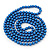 Long Cobalt Blue Glass Bead Necklace - 140cm Length/ 8mm - view 2