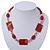 Dark Orange Ceramic & Ligth Pink Crystal Bead Necklace In Rhodium Plating - 42cm Length/ 5cm Extension - view 2