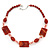 Dark Orange Ceramic & Ligth Pink Crystal Bead Necklace In Rhodium Plating - 42cm Length/ 5cm Extension