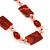 Dark Orange Ceramic & Ligth Pink Crystal Bead Necklace In Rhodium Plating - 42cm Length/ 5cm Extension - view 3