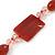 Dark Orange Ceramic & Ligth Pink Crystal Bead Necklace In Rhodium Plating - 42cm Length/ 5cm Extension - view 4