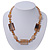 Beige Ceramic & Ligth Amber Coloured Crystal Bead Necklace In Rhodium Plating - 42cm Length/ 5cm Extension - view 2