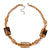 Beige Ceramic & Ligth Amber Coloured Crystal Bead Necklace In Rhodium Plating - 42cm Length/ 5cm Extension - view 3
