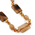 Beige Ceramic & Ligth Amber Coloured Crystal Bead Necklace In Rhodium Plating - 42cm Length/ 5cm Extension - view 4