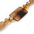 Beige Ceramic & Ligth Amber Coloured Crystal Bead Necklace In Rhodium Plating - 42cm Length/ 5cm Extension - view 5