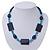 Dark Blue Ceramic & Ligth Blue Crystal Bead Necklace In Rhodium Plating - 42cm Length/ 5cm Extension - view 2