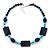 Dark Blue Ceramic & Ligth Blue Crystal Bead Necklace In Rhodium Plating - 42cm Length/ 5cm Extension - view 3