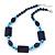 Dark Blue Ceramic & Ligth Blue Crystal Bead Necklace In Rhodium Plating - 42cm Length/ 5cm Extension