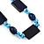 Dark Blue Ceramic & Ligth Blue Crystal Bead Necklace In Rhodium Plating - 42cm Length/ 5cm Extension - view 4