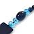 Dark Blue Ceramic & Ligth Blue Crystal Bead Necklace In Rhodium Plating - 42cm Length/ 5cm Extension - view 5