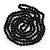 Long Black Glass Bead Necklace - 140cm Length/ 8mm - view 3