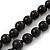 Long Black Glass Bead Necklace - 140cm Length/ 8mm - view 4