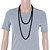 Long Black Glass Bead Necklace - 140cm Length/ 8mm - view 6