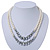 Two Row White Glass Pearl & Grey Crystal Beads Necklace - 46cm L /6cm Ext