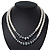 Two Row White Glass Pearl & Grey Crystal Beads Necklace - 46cm L /6cm Ext - view 3
