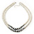 Two Row White Glass Pearl & Grey Crystal Beads Necklace - 46cm L /6cm Ext - view 2