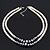 Two Row White Glass Pearl & Grey Crystal Beads Necklace - 46cm L /6cm Ext - view 4