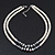 Two Row White Glass Pearl & Grey Crystal Beads Necklace - 46cm L /6cm Ext - view 5
