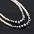 Two Row White Glass Pearl & Grey Crystal Beads Necklace - 46cm L /6cm Ext - view 6