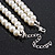 Two Row White Glass Pearl & Grey Crystal Beads Necklace - 46cm L /6cm Ext - view 7