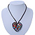 Open Heart With Multicoloured Semiprecious Stones Pendant On Brown Cotton Cord Necklace - 40cm Length