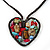 Open Heart With Multicoloured Semiprecious Stones Pendant On Brown Cotton Cord Necklace - 40cm Length - view 2