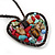 Open Heart With Multicoloured Semiprecious Stones Pendant On Brown Cotton Cord Necklace - 40cm Length - view 4