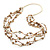Long Multistrand Antique White/ Amber Coloured Shell/ Glass Bead Necklace - 86cm Length