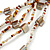 Long Multistrand Antique White/ Amber Coloured Shell/ Glass Bead Necklace - 86cm Length - view 5