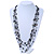 Long Multistrand Black/ White Shell/ Glass Bead Necklace - 84cm Length - view 2