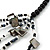Long Multistrand Black/ White Shell/ Glass Bead Necklace - 84cm Length - view 3
