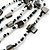 Long Multistrand Black/ White Shell/ Glass Bead Necklace - 84cm Length - view 4