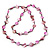 Long Magenta Shell & Metal Bead Necklace - 110cm Length - view 3