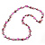 Long Magenta Shell & Metal Bead Necklace - 110cm Length - view 6